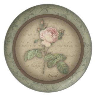 Redoute' Botanical Vintage Rose Plate