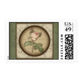 Redoute' Botanical Vintage Rose Postage Stamp