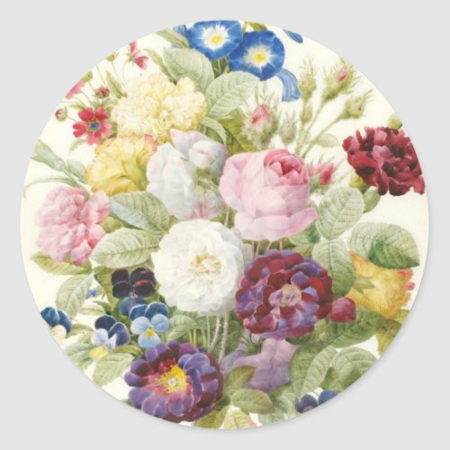 Redoute Bouquet of Flowers Round Sticker
