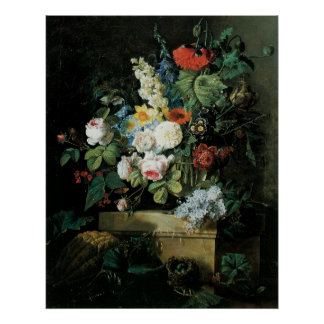 Redoute Elaborate Flowers Still LIfe Poster