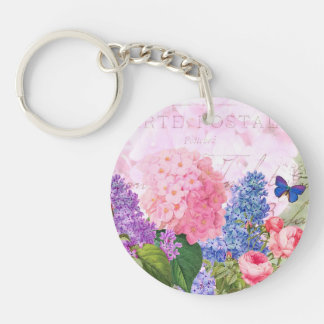 Redoute Flowers Circle (double-sided) Keychain