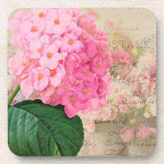 Redoute Pink Hydrangea French Accent Coasters