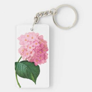 Redoute Pink Hydrangea Rectangle Keychain