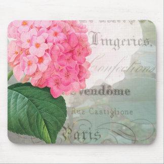 Redoute Pink Hydrangea Vintage Postcard Mousepad