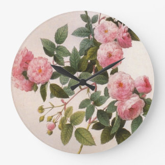 Redoute Pink Peony Roses Wall Clock