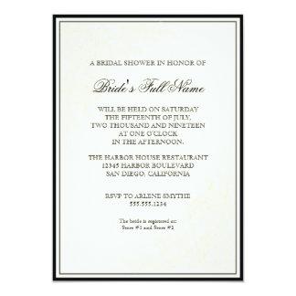 Redoute Pink Rose, Black - Floral Bridal Shower Card