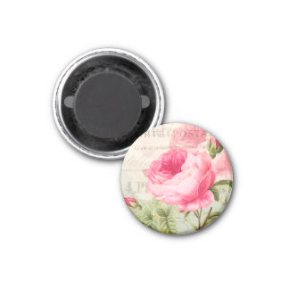Redoute Pink Rose Circle Magnet