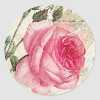 Redoute Pink Rose Envelope Stickers Seals