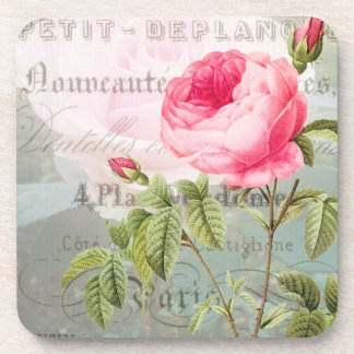 Redoute Pink Rose French Accent Coasters