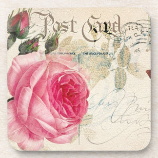 Redoute Pink Rose French Accent Postcard Coasters