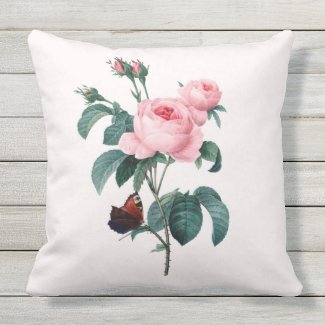 Redoute Pink Rose Outdoor Throw Pillow