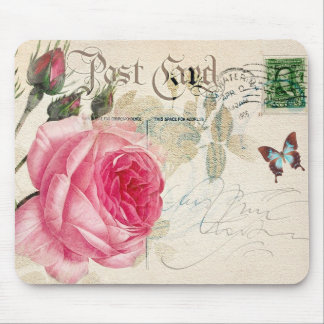 Redoute Pink Rose Vintage Shabby Postcard Mousepad