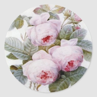 Redoute Pink Roses Round Sticker