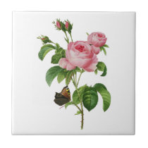 Redoute Pink Roses Tile