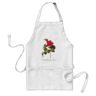 Redoute Red Camellia Apron Antique Botanical Print