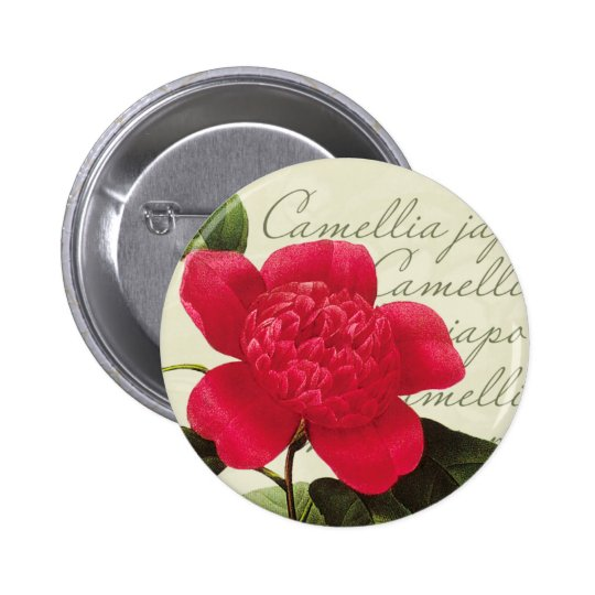 Redoute Red Camellia Botanical Print Button Pin