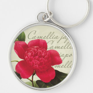 Redoute Red Camellia Botanical Print Key Chain