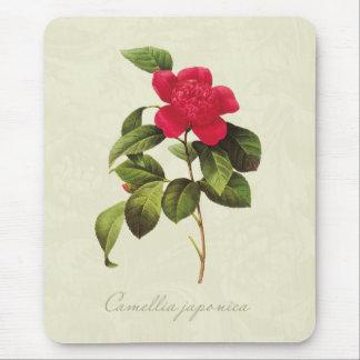 Redoute Red Camellia Botanical Print Mousepad