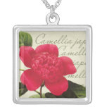 Redoute Red Camellia Botanical Print Pendant