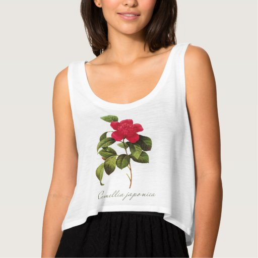Redoute Red Camellia T-Shirt Top Tank Hoodie