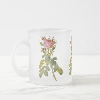 Redoute Single Stem Rose Floral 10 Oz Frosted Glass Coffee Mug