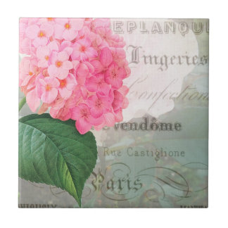 Redoute Vintage Hydrangea French Ceramic Tile