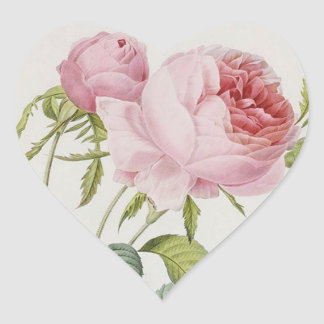 Redoute Vintage Rose Heart Shape Stickers