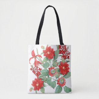Redoutes Botanical Red Flowers Floral Tote Bag