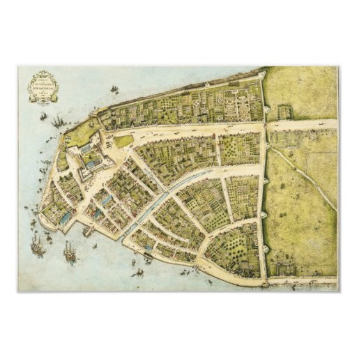 Redraft of the Castello Plan New Amsterdam in 1660 Card