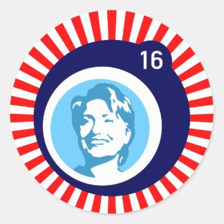 redRays blueBubble de hillary Clinton Pegatina Redonda