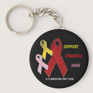 redribbon, yellow, pink ribbon, support, hop... keychain