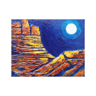 Redrock Night Moon Gallery Wrapped Canvas Print