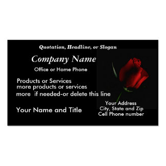 RedRose on Blk BizCard-customize Business Cards