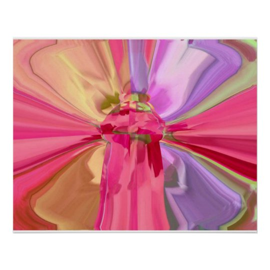 RedRose PinkRose Butterfly Crystal Art Poster