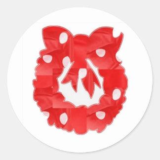 RedRose : Silk Fabric Patchwork Wreath Classic Classic Round Sticker