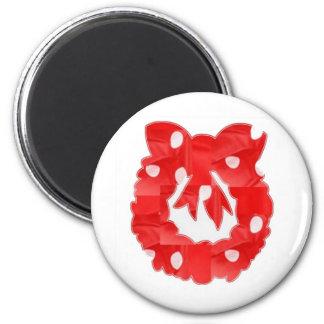 RedRose : Silk Fabric Patchwork Wreath Classic Magnet