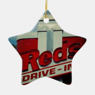 Reds Drive In Ceramic Ornament
