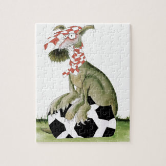 reds soccer dog happy supporter jigsaw puzzle