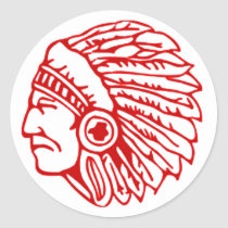 Redskin Red Indian Classic Round Sticker