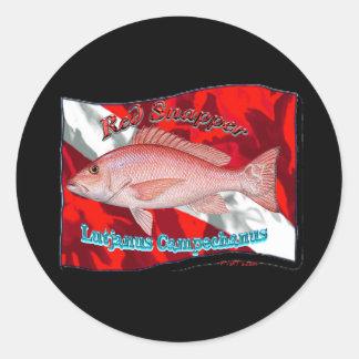 RedSnapper en bandera de la zambullida Etiquetas