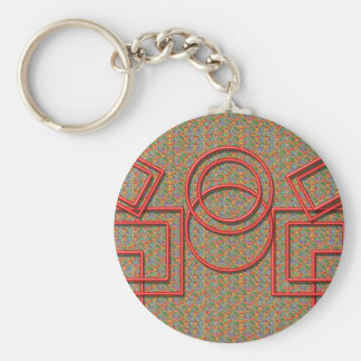RedSquares and Circles Keychain