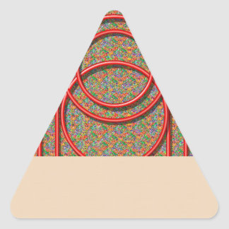 RedSquares and Circles Triangle Sticker