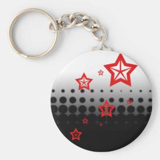 redstar fade basic round button keychain