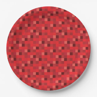 Redstone Red Pixelated Pattern Paper Plate