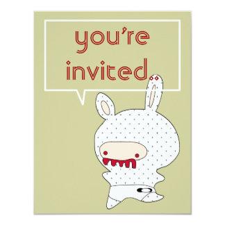 "redteeth bunny invitation 4.25"" x 5.5"" invitation card"