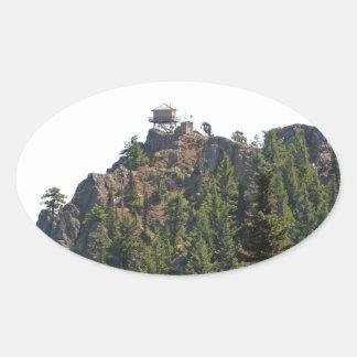Redtop Mountain Fire Watch Tower Oval Sticker