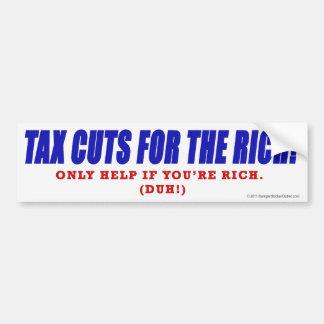 ¡Reducciones de impuestos para los ricos! Etiqueta De Parachoque