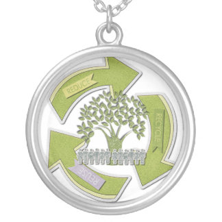 Reduce, Recycle, Reuse Silver Plated Necklace