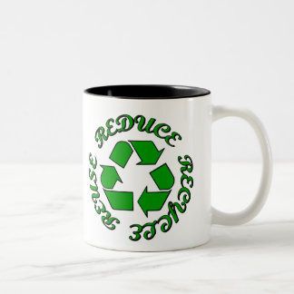 Reduce Recycle Reuse Two-Tone Coffee Mug