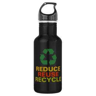 Reduce Reuse Recycle Aluminum Bottle 18oz Water Bottle